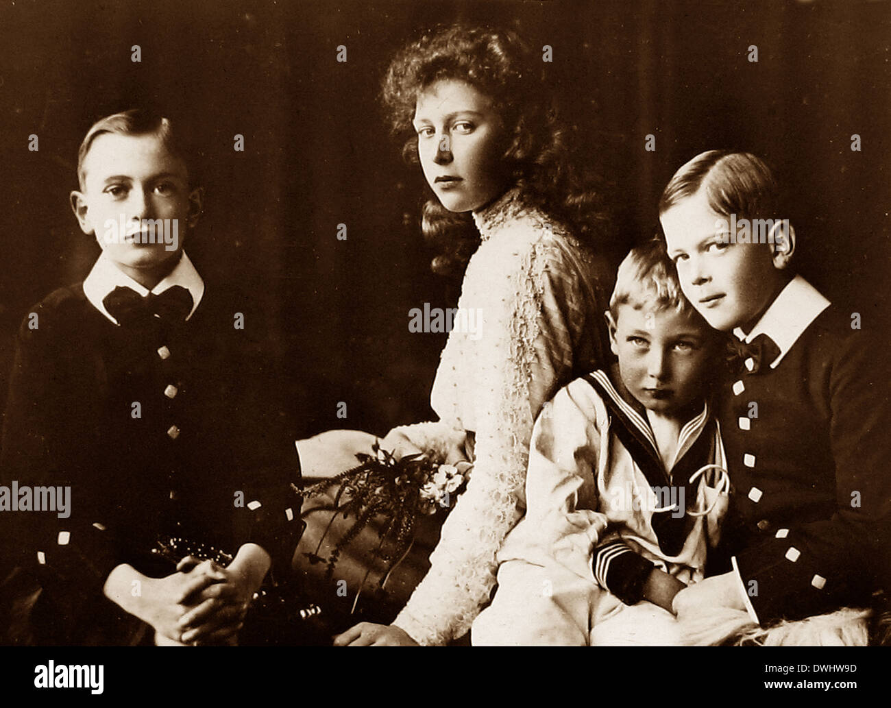 Children of King George V - Princes Henry John and George and Princess Mary - Stock Image