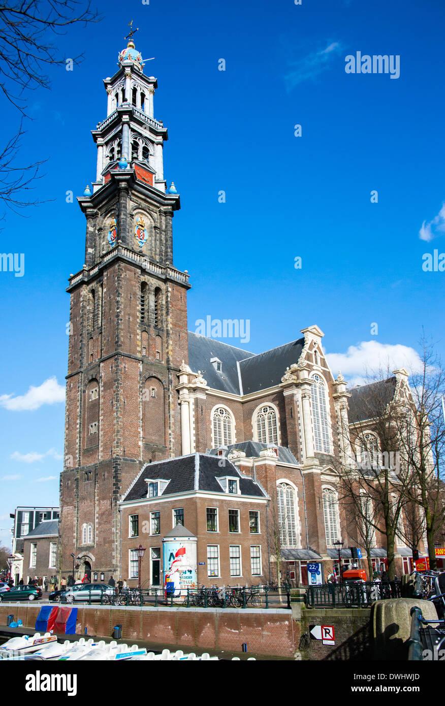 Famous Westerkerk Protestant church on Prinsengracht Amsterdam - Stock Image