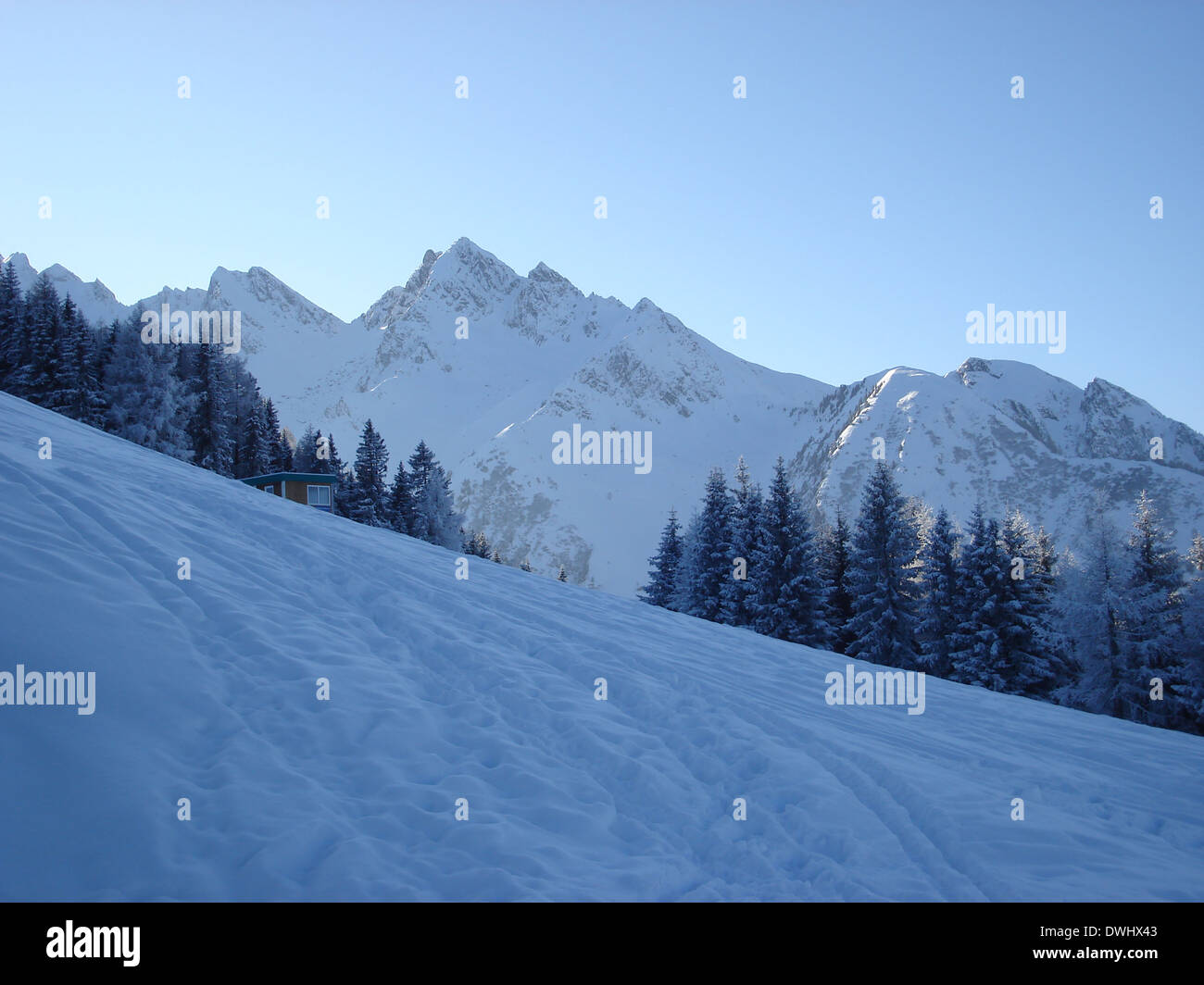 View over the Austrian Alps. - Stock Image