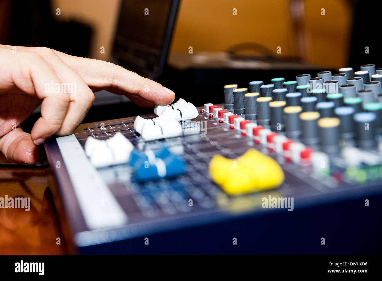colour button in a sound panel - Stock Image