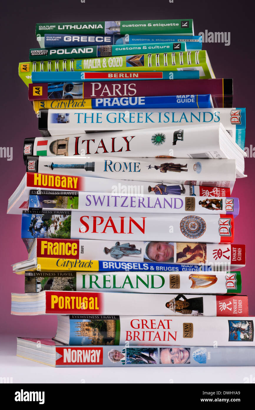 European travel guides to Europe's greatest destinations. - Stock Image