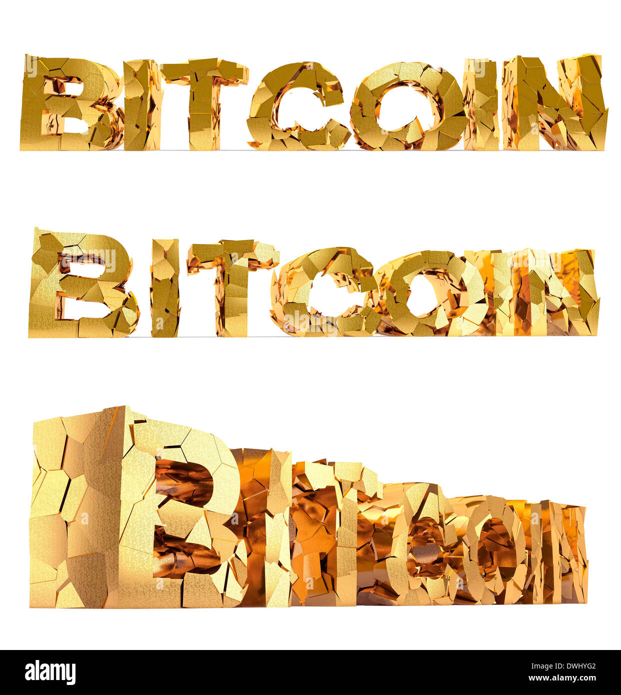 Bitcoin - damaged text - isolated on white - Stock Image