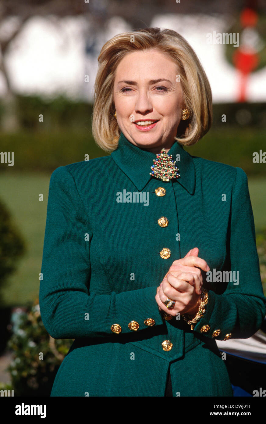 Hillary Clinton Christmas.Us First Lady Hillary Clinton Participates In Madd S Christmas Stock