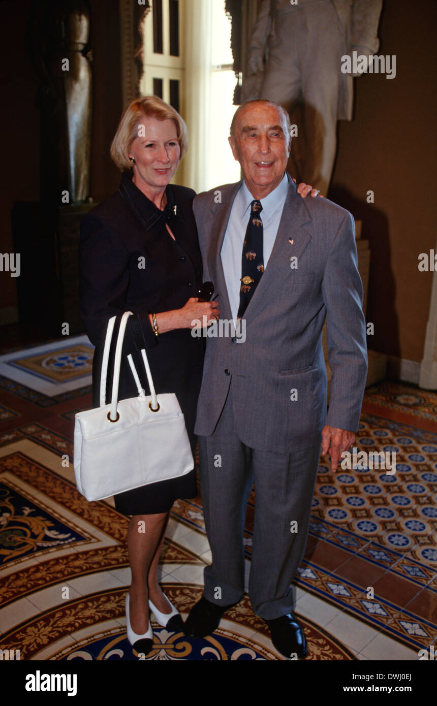 US Senator Strom Thurmond, 94, and his wife Nancy Moore celebrate his 41 years in the Senate, making him the longest - Stock Image