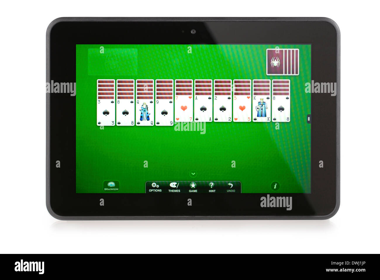 Kindle Fire HD 8.9 with Spider Solitaire game App installed and running - Stock Image
