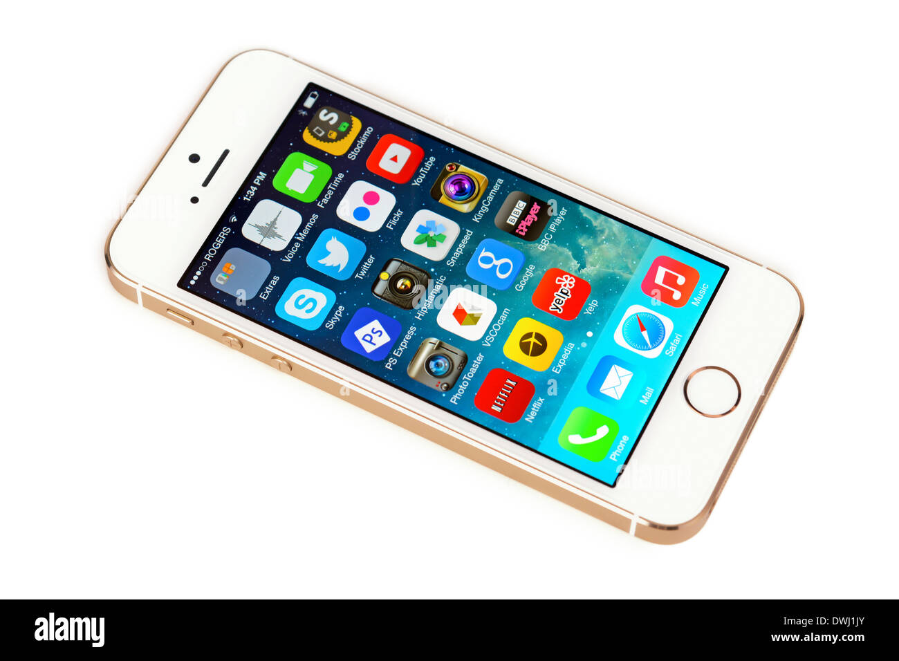 iPhone 5S White Gold, Champagne Apple iPhone 5 S - Stock Image