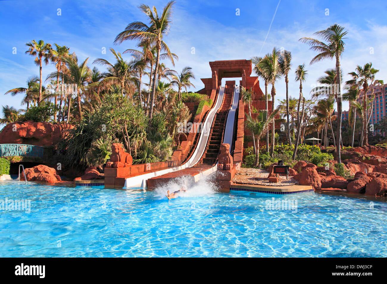 Paradise Island, Atlantis, Swimming Pool, Nassau, Bahamas - Stock Image