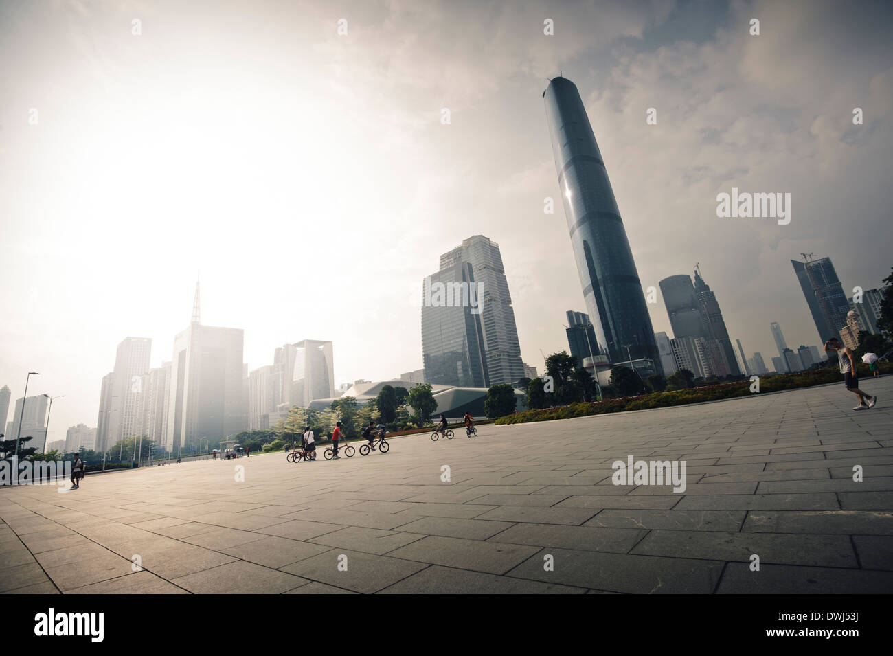 Guangzhou commercial area with famous skyscraper - Stock Image