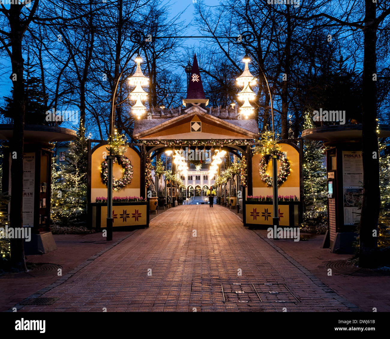 Tivoli Gardens, Copenhagen, Denmark. Architect: Various, 2014. Tivoli entrance in early morning. Stock Photo