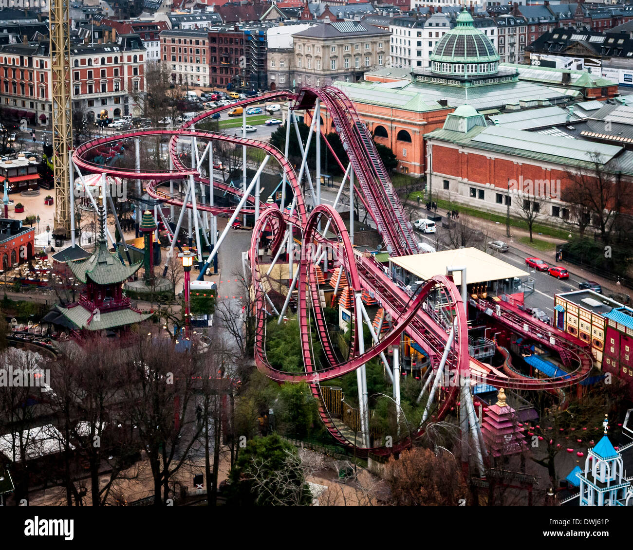 "Tivoli Gardens, Copenhagen, Denmark. Architect: Various, 2014. ""The Demon"" rollercoaster. Stock Photo"