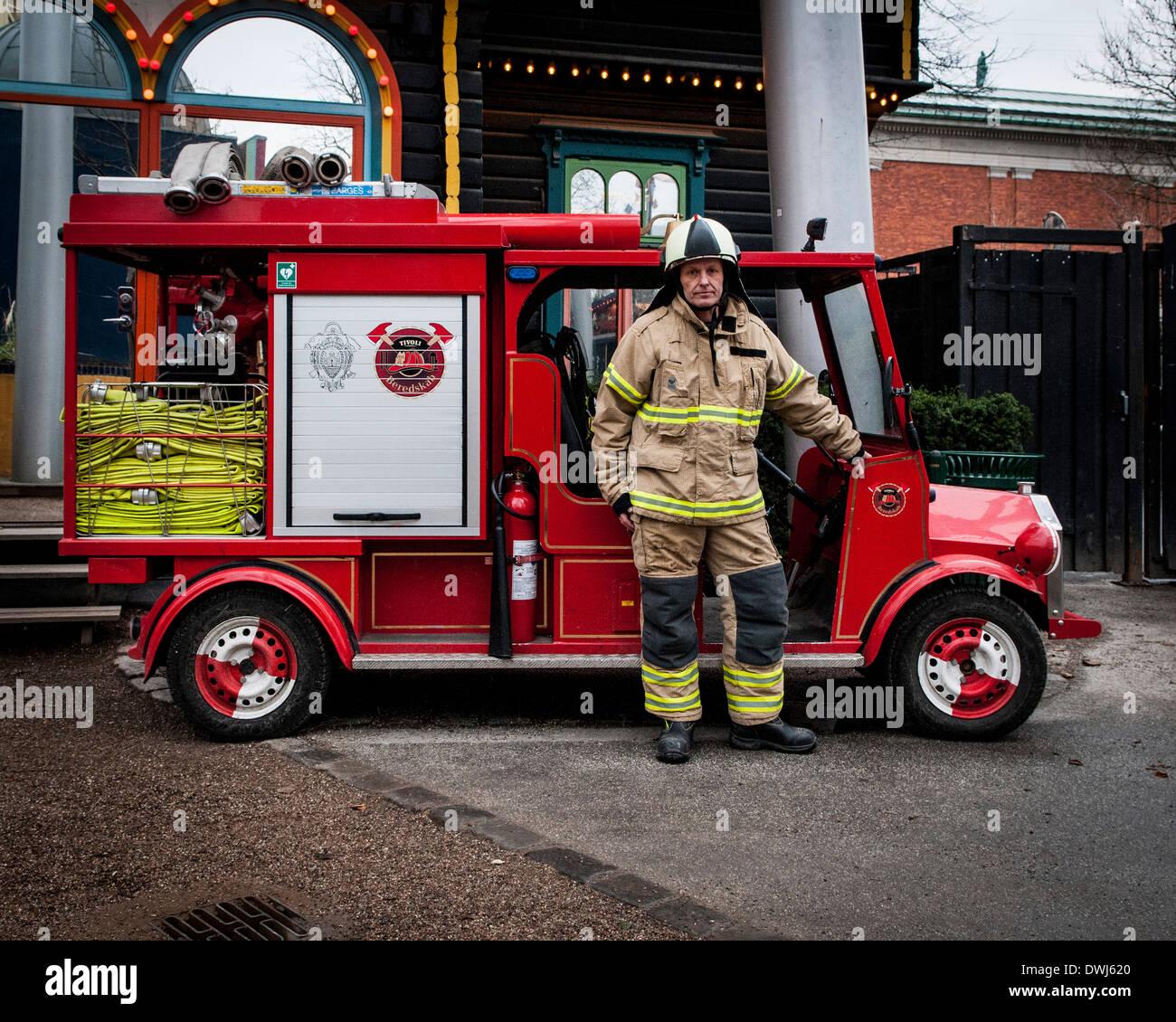 Tivoli Gardens, Copenhagen, Denmark. Architect: Various, 2014. The smallest fire station in Europe. Stock Photo