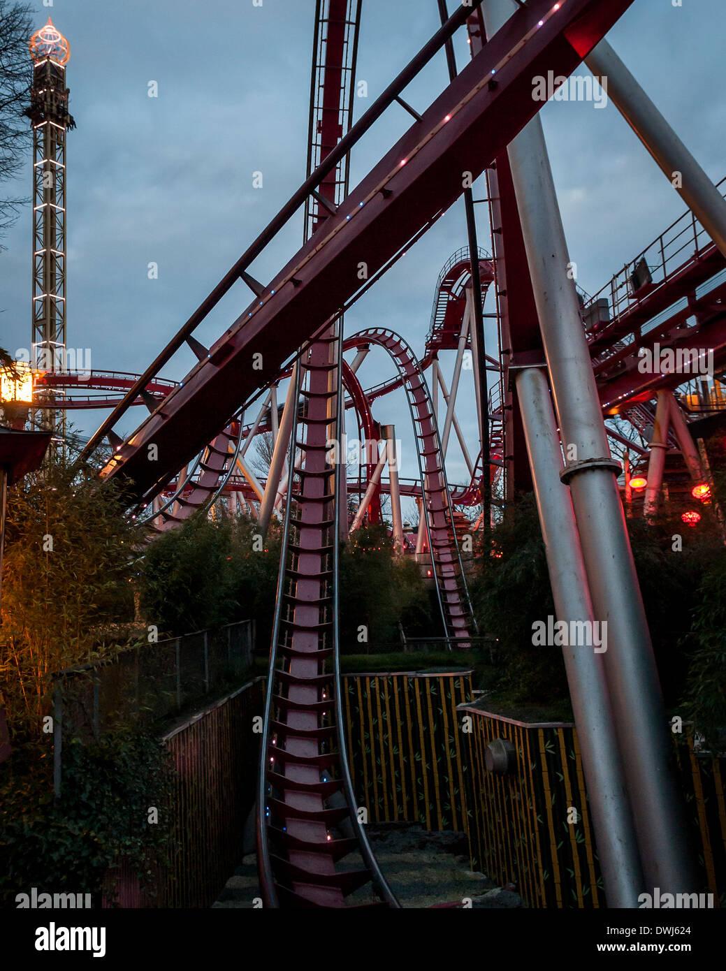 Tivoli Gardens, Copenhagen, Denmark. Architect: Various, 2014. The Demon Rollercoaster. Stock Photo