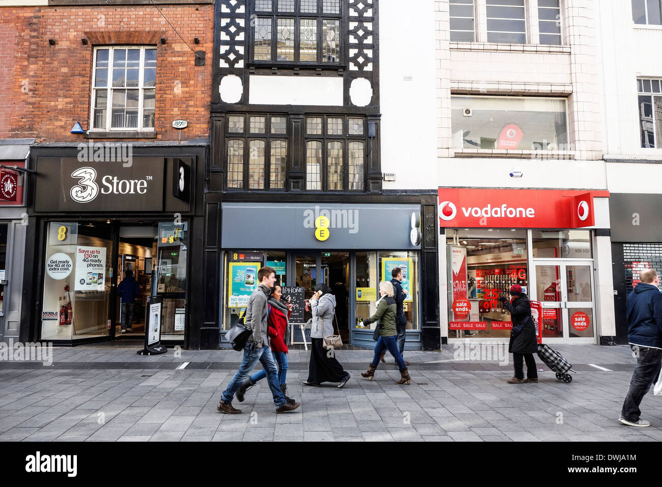 A row of phone shops in Leicester city centre, UK. Stock Photo