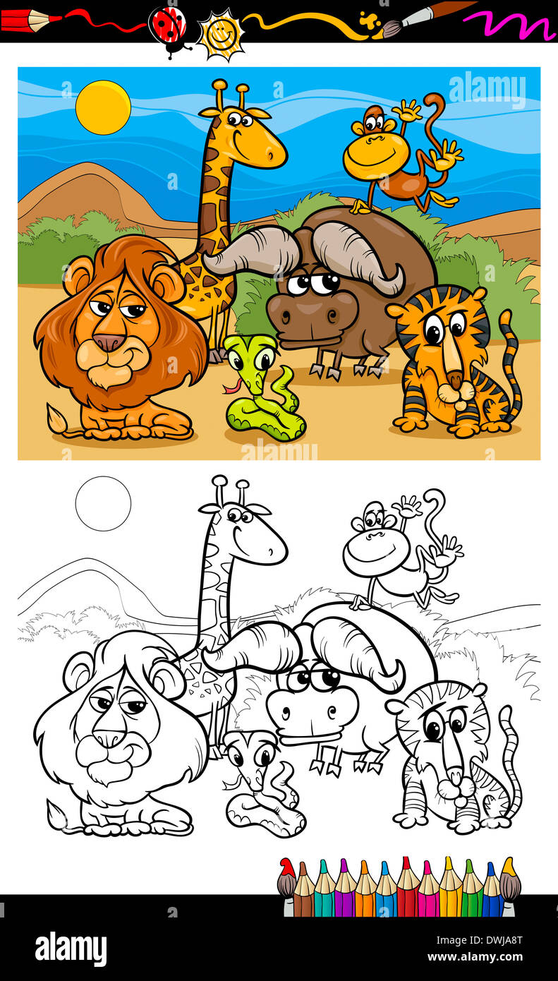 Coloring Book or Page Cartoon Illustration of Scene with Wild Safari ...