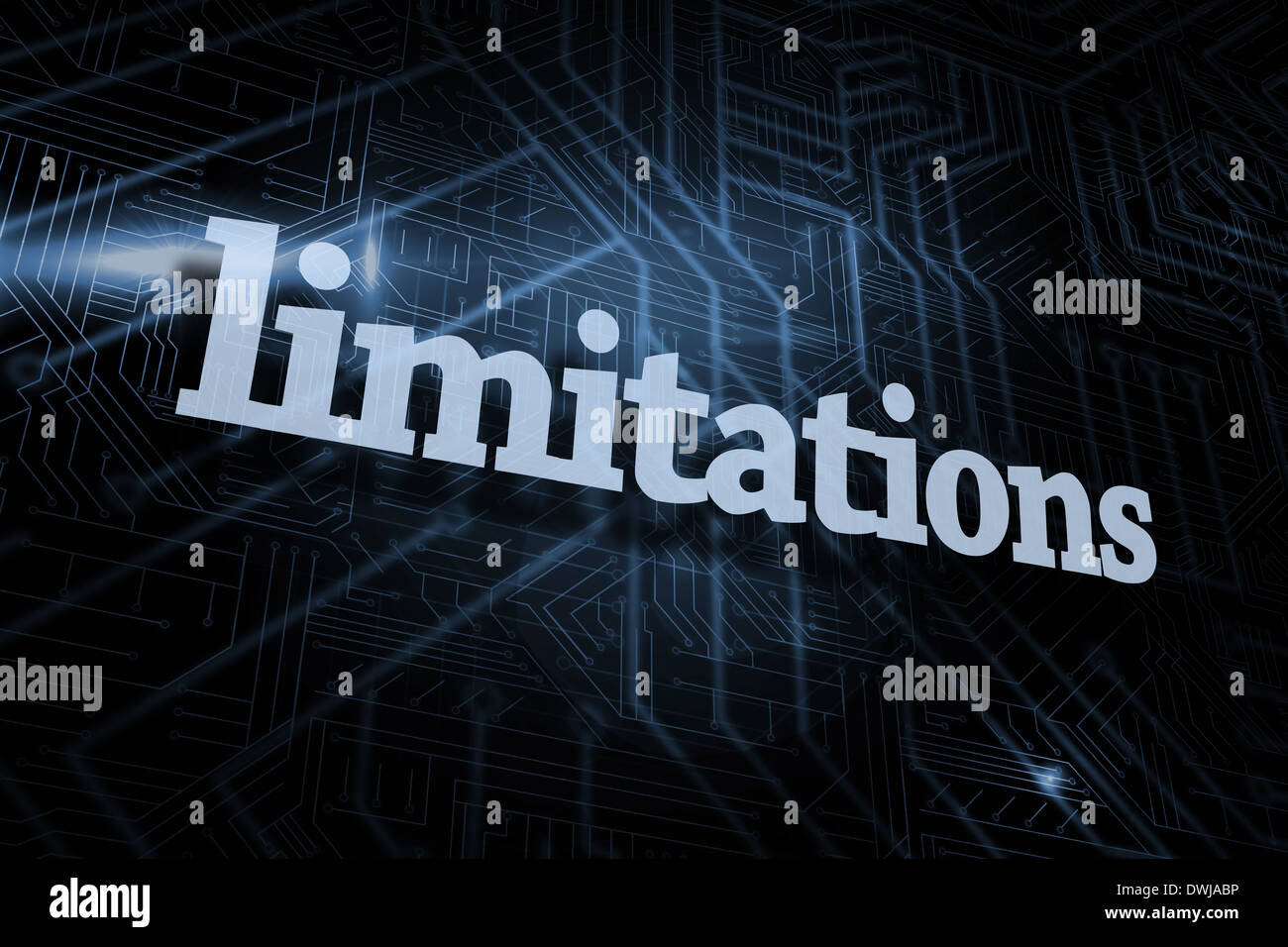 Limitations against futuristic black and blue background - Stock Image