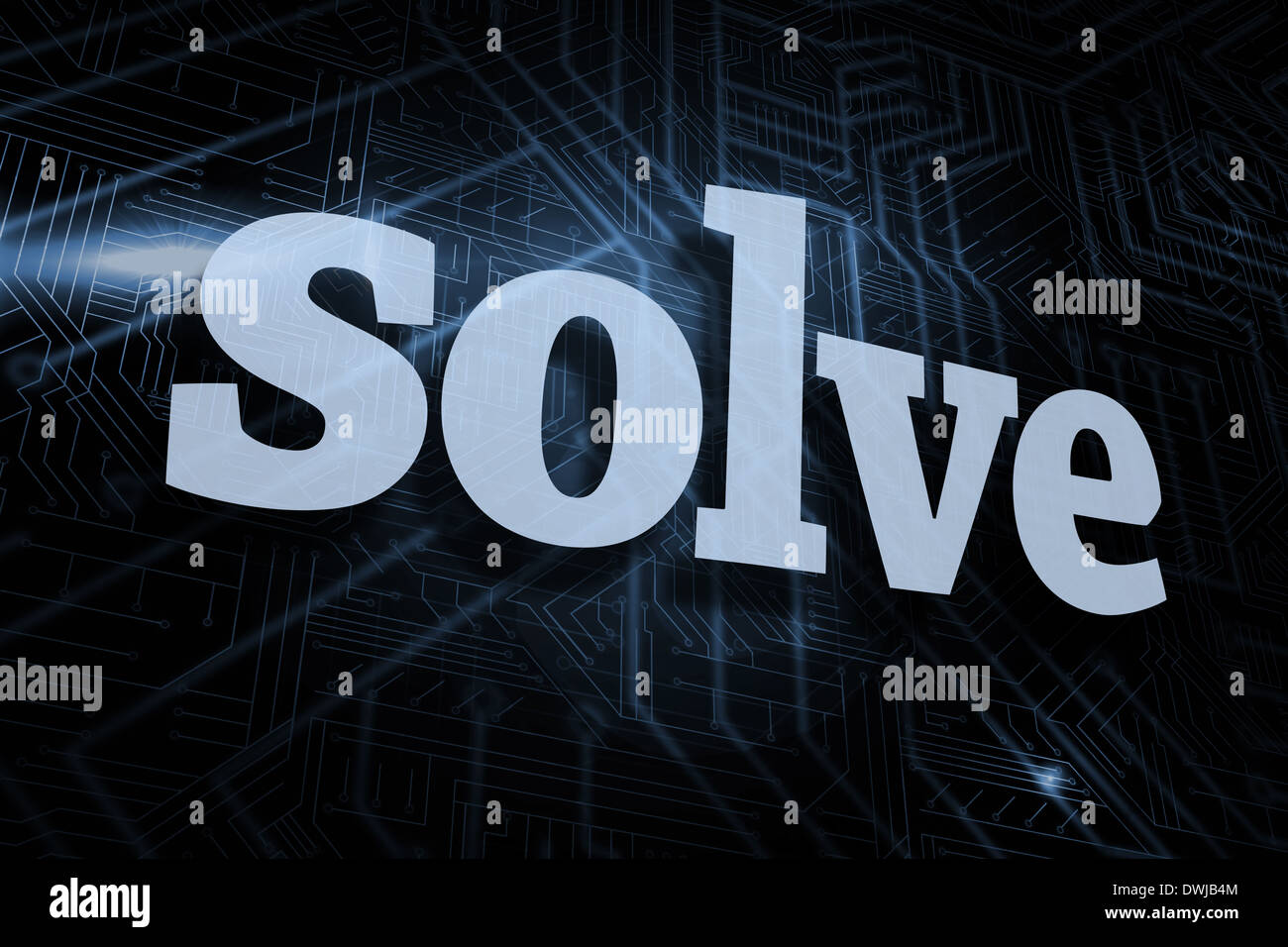 Solve against futuristic black and blue background - Stock Image