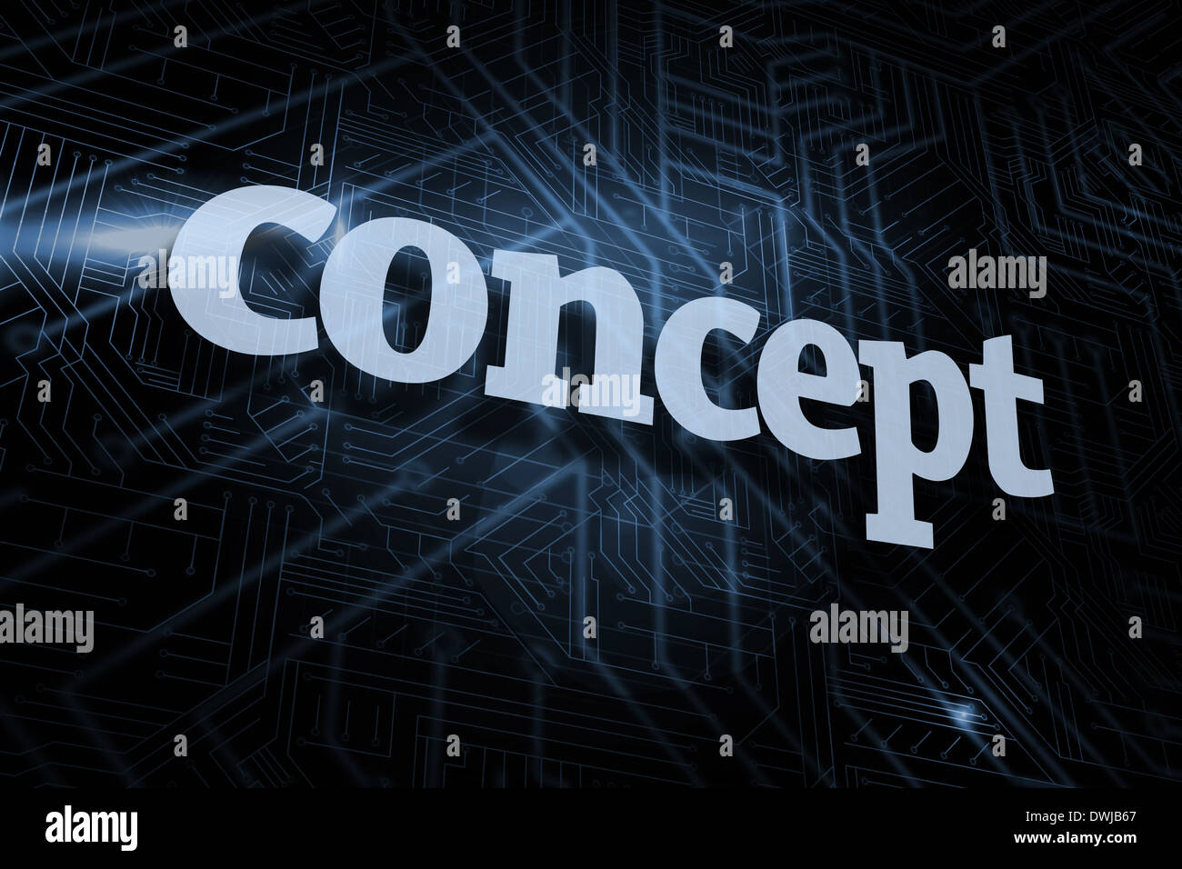Concept against futuristic black and blue background - Stock Image