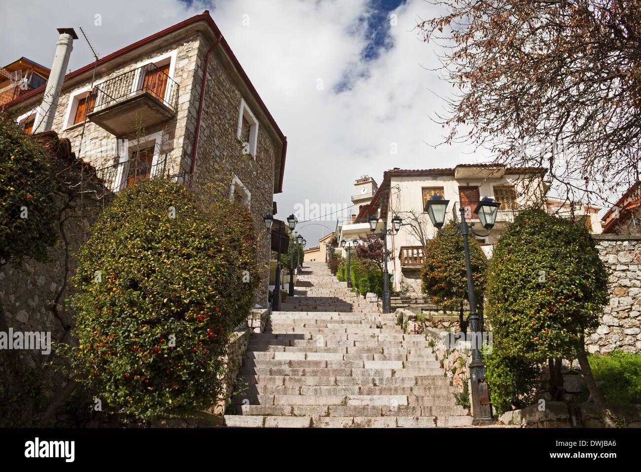 stone steps ascending in an alley of the greek mountain resort town