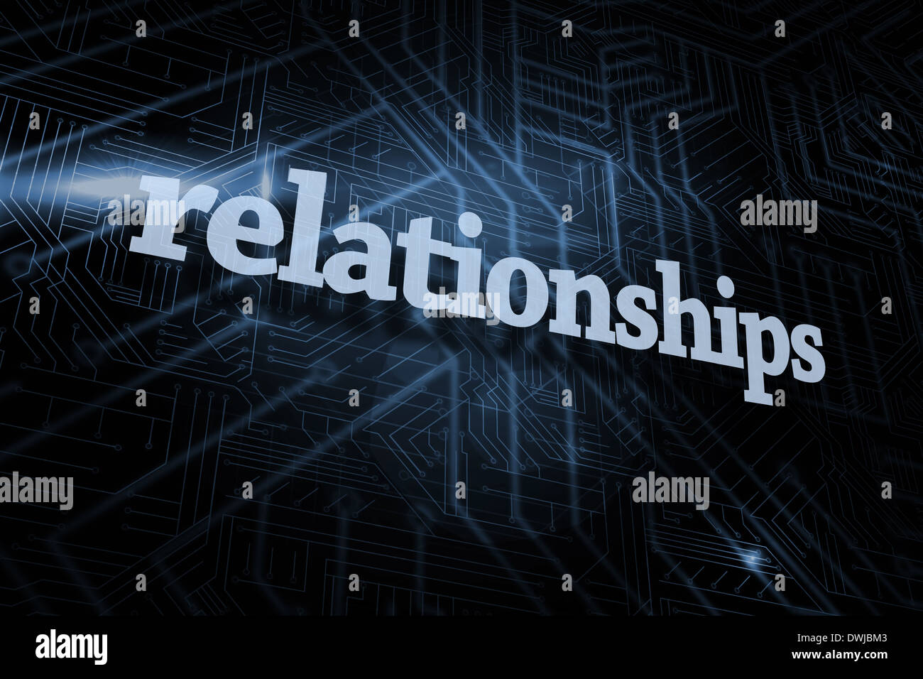 Relationships against futuristic black and blue background - Stock Image