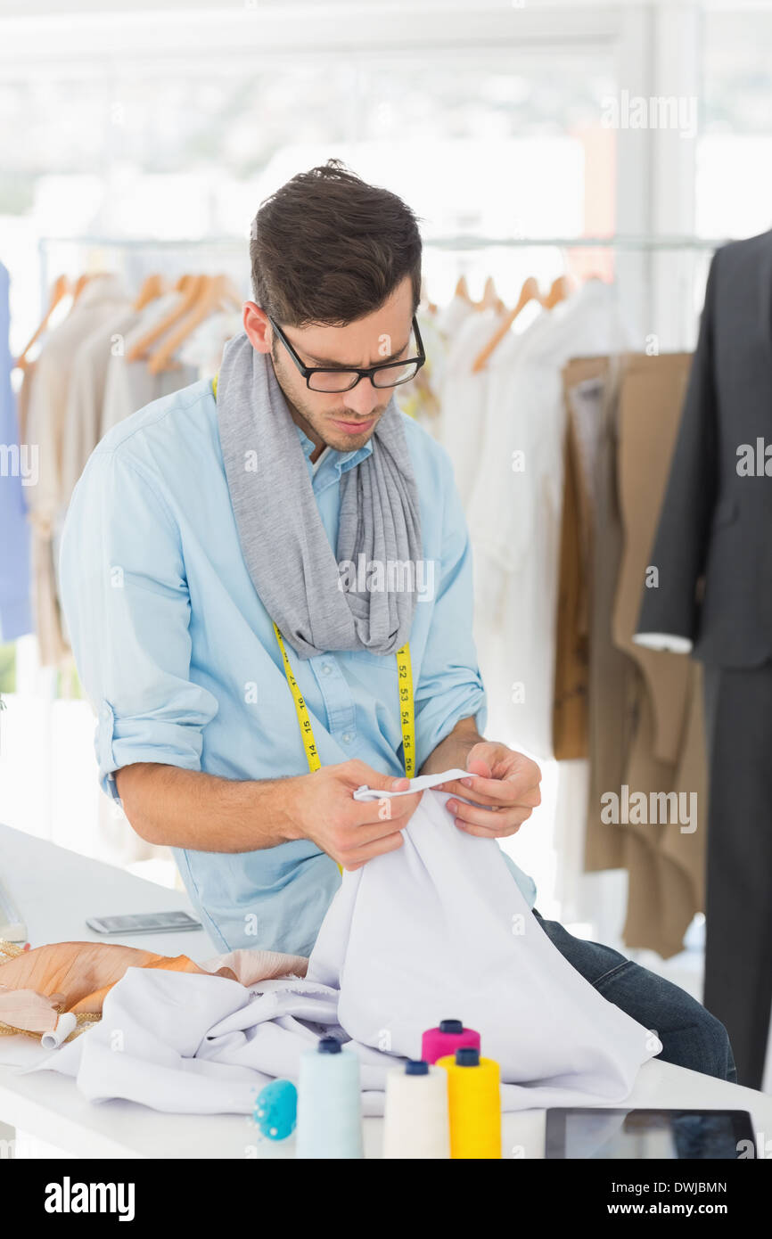 Concentrated Male Fashion Designer At Work Stock Photo Alamy