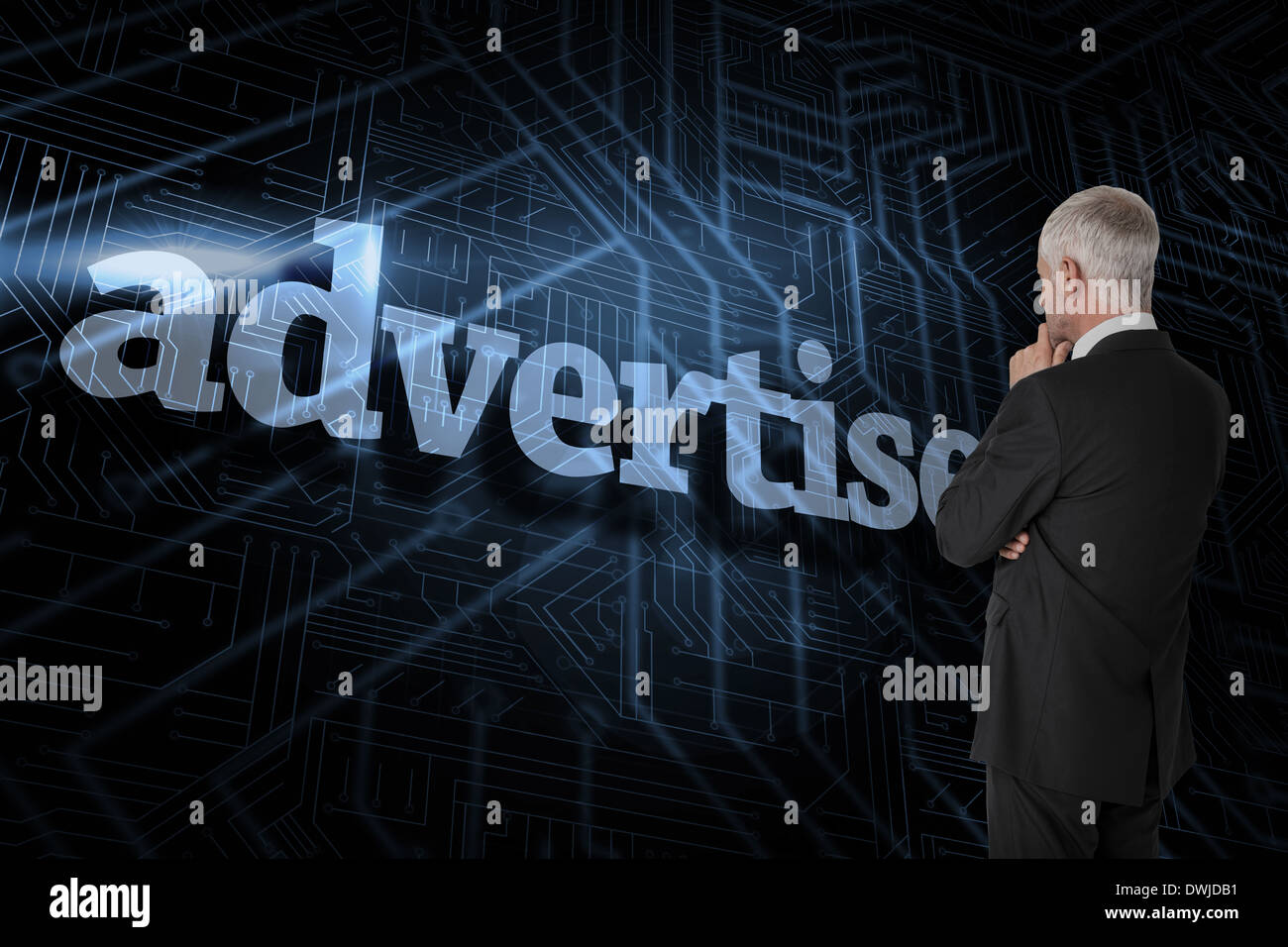 Advertise against futuristic black and blue background - Stock Image