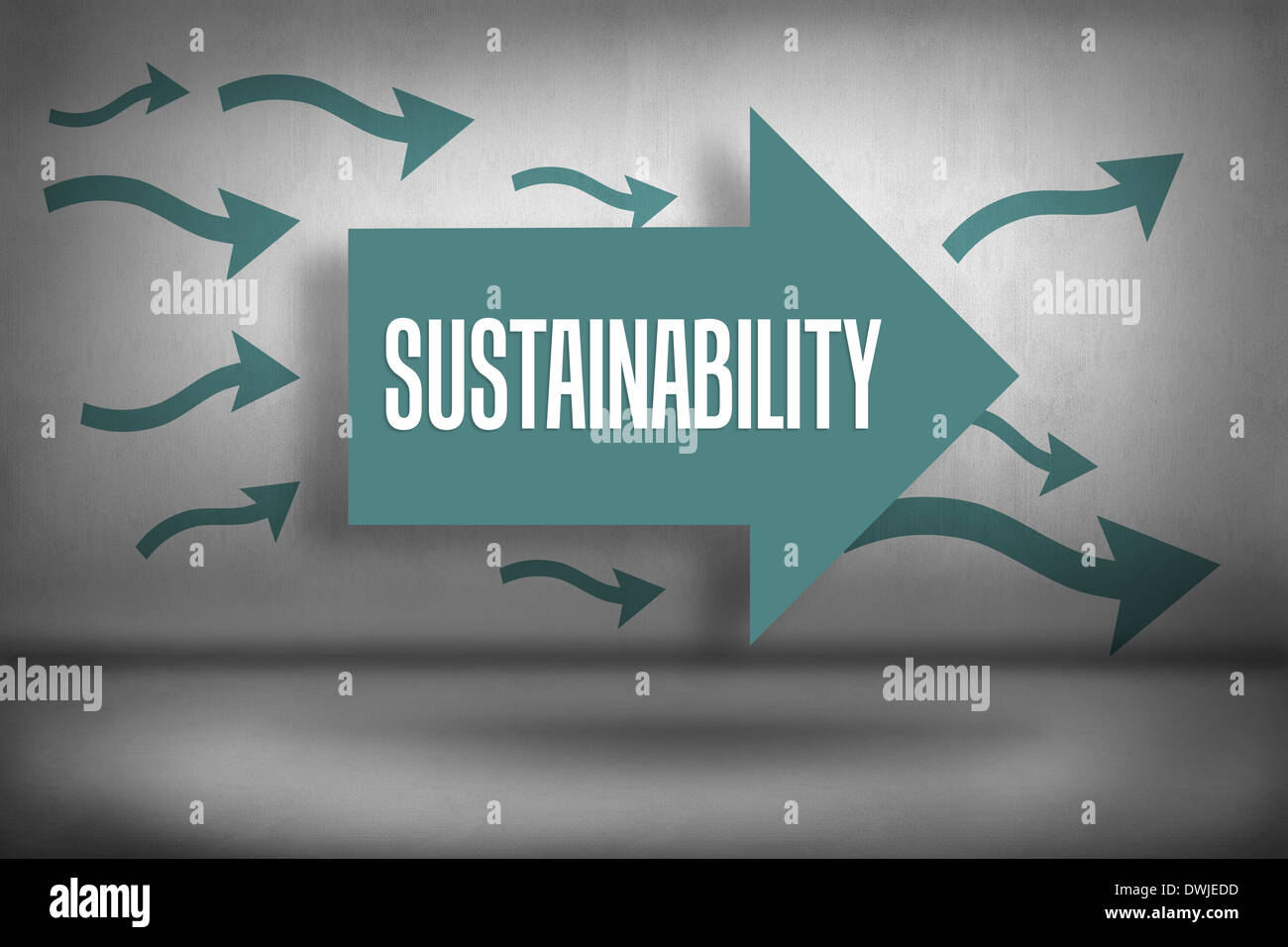 Sustainability against arrows pointing - Stock Image