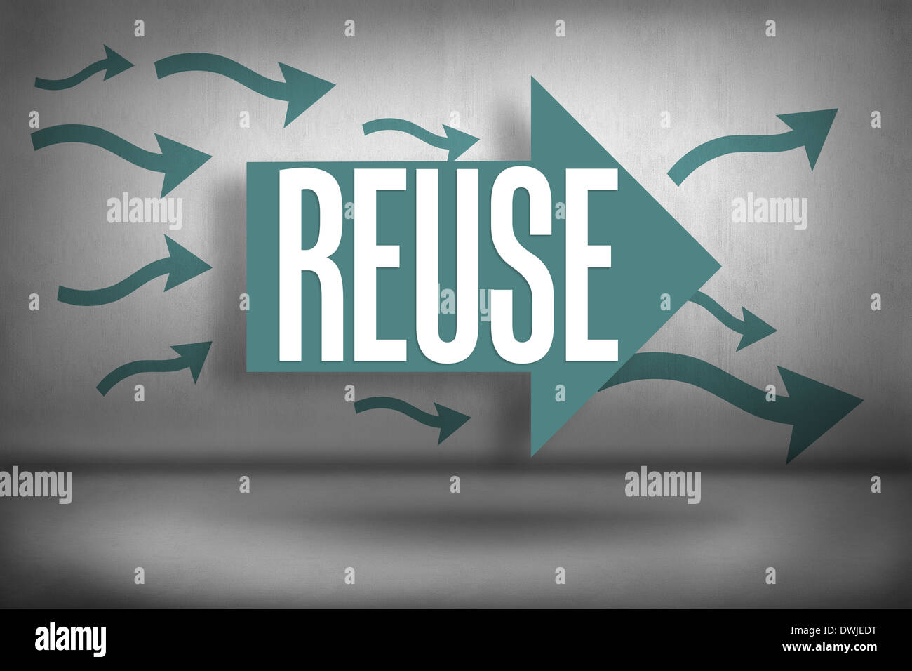 Reuse against arrows pointing - Stock Image