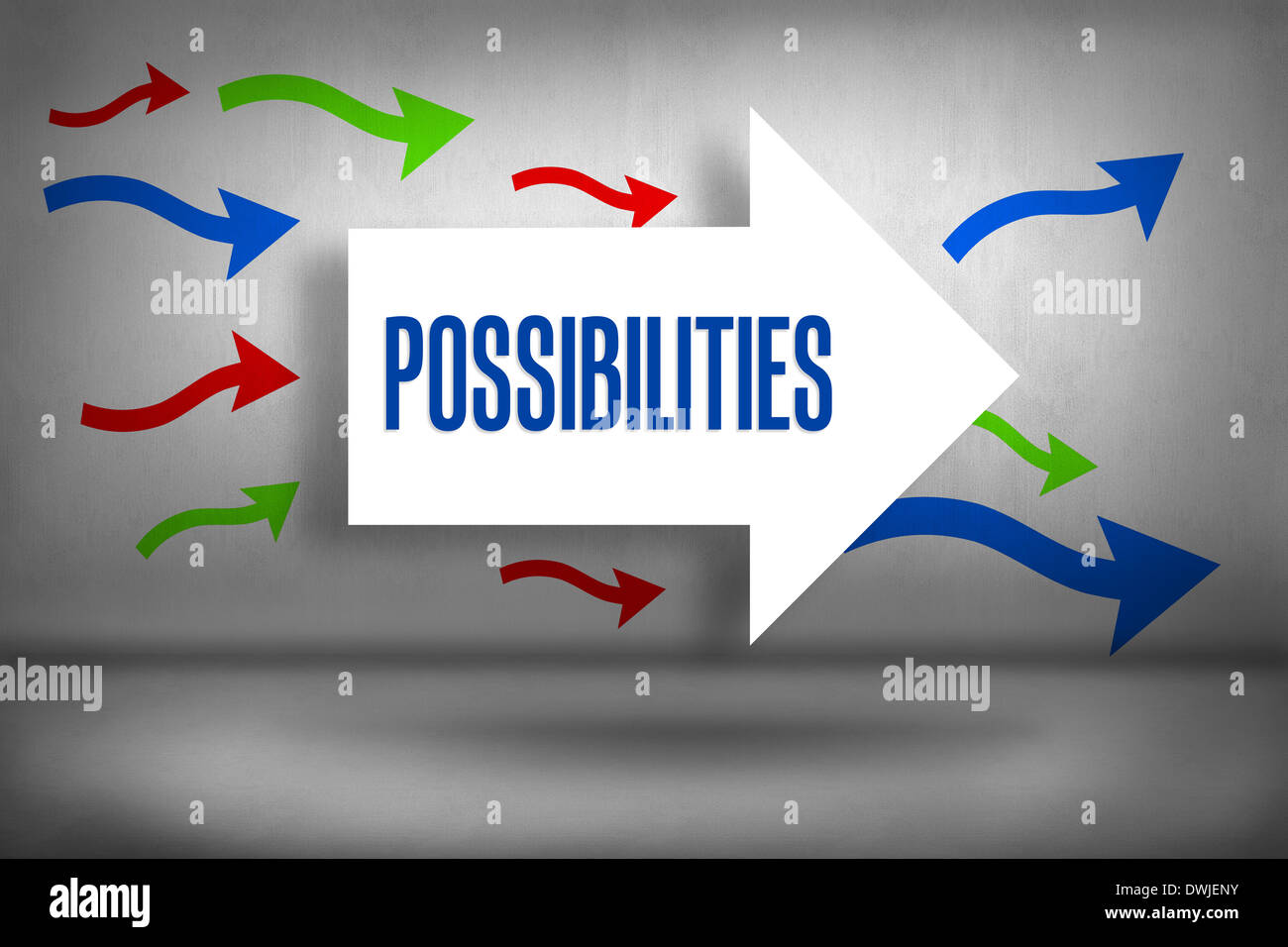 Possibilities against arrows pointing - Stock Image