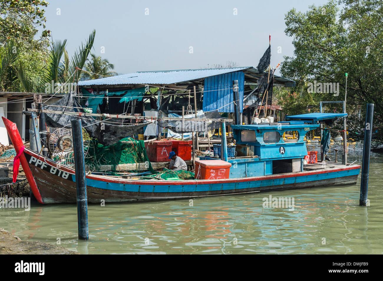 A Chinese fishing fleet in Penang - Stock Image