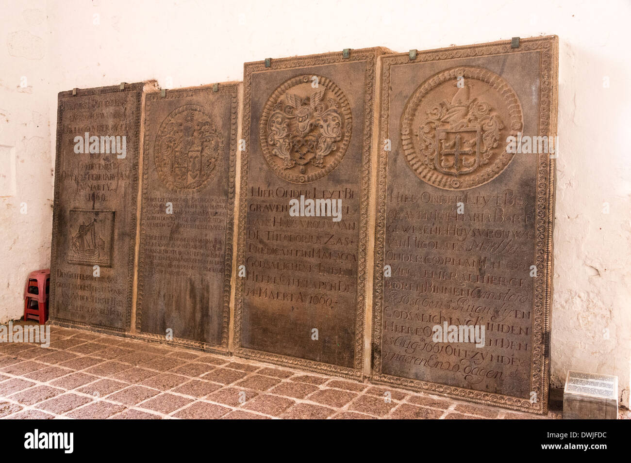 Old Portuguese tombstones in Malacca - Stock Image