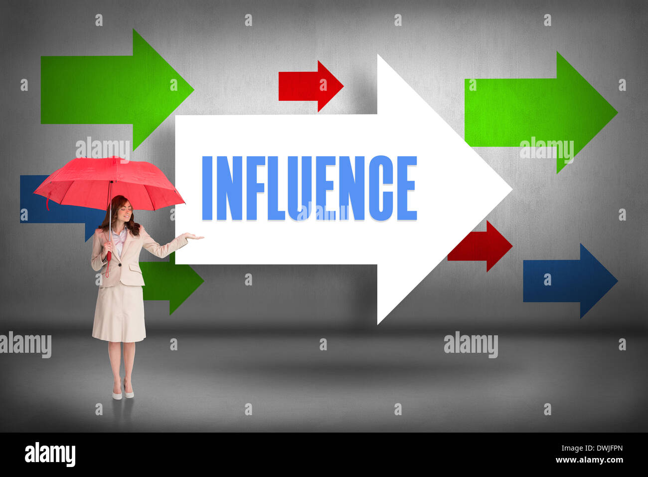 Influence against arrows pointing - Stock Image