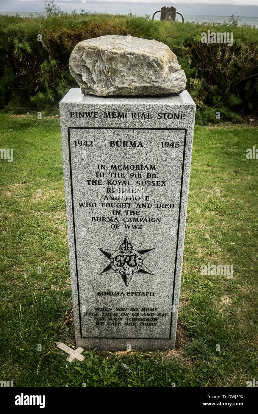 PINWE MEMORIAL STONE from WW2 in Burma now in Eastbourne UK - Stock Image