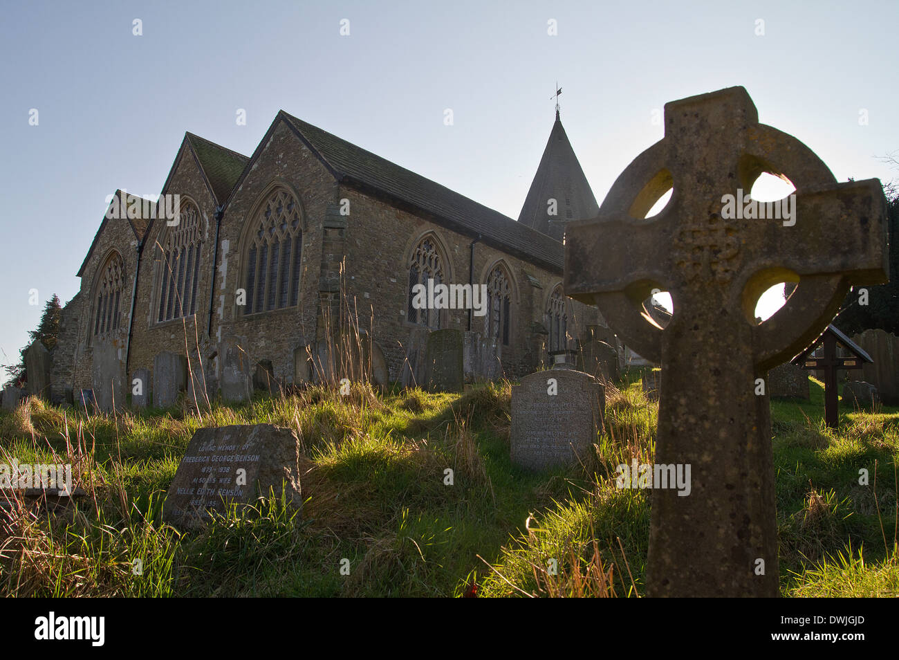 unkempt graveyard in Westerham Kent UK - Stock Image
