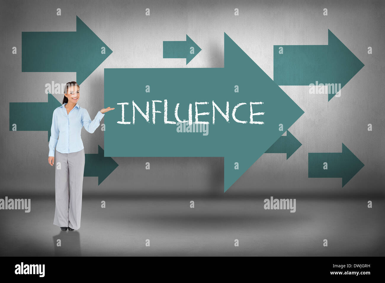 Influence against blue arrows pointing - Stock Image