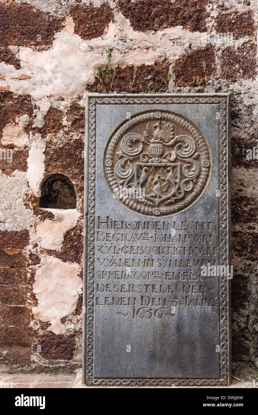 Old Portuguese tombstone in Malacca - Stock Image