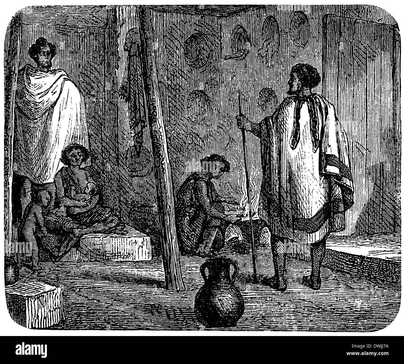 Abessinische Hütte: Innenansicht - Stock Image