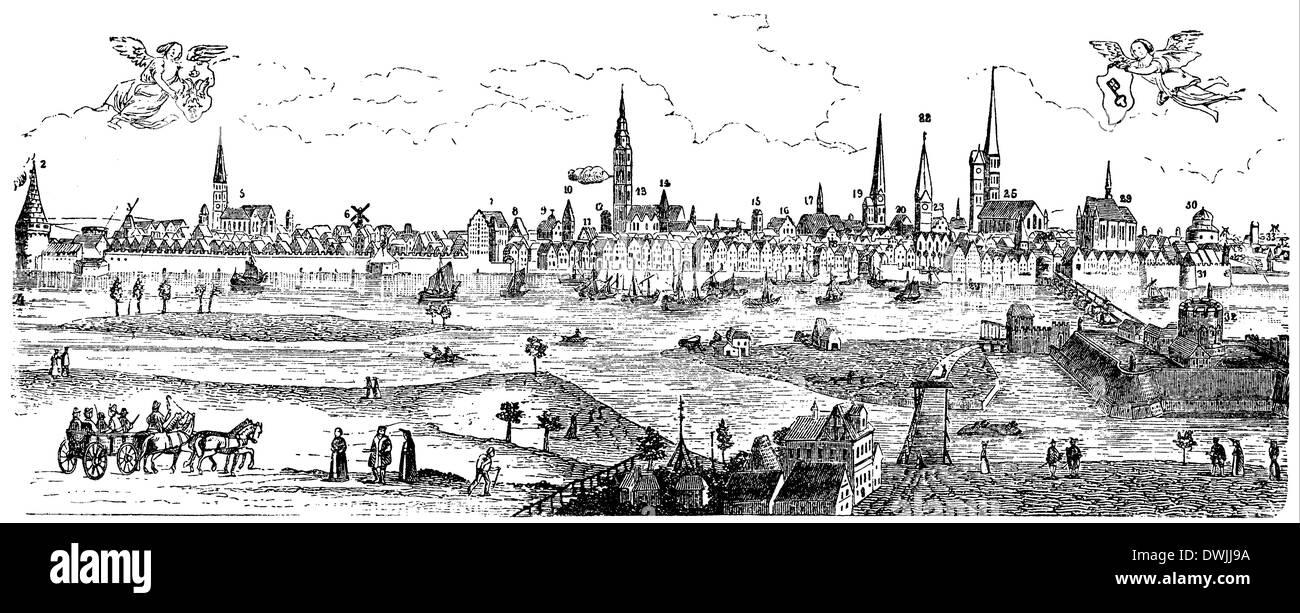 Abcontrafeytung der Löbl. und Weittberühmten Hansestadt Bremen, wie sie nach Christi Geburt im Jahr MDCII ausgesehen Stock Photo