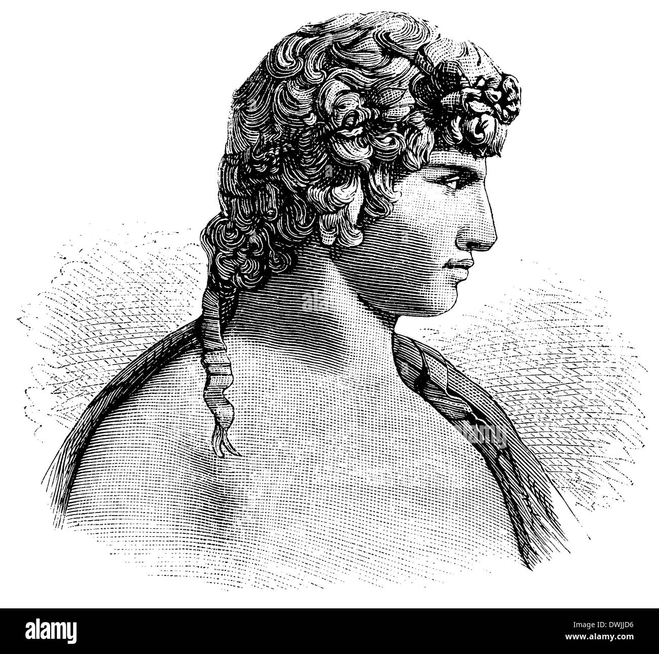 Antinous, Antinoos (born c. November 27,[1] 111, died October 30, 130), member of the entourage of the Roman Emperor Hadrian and his lover - Stock Image