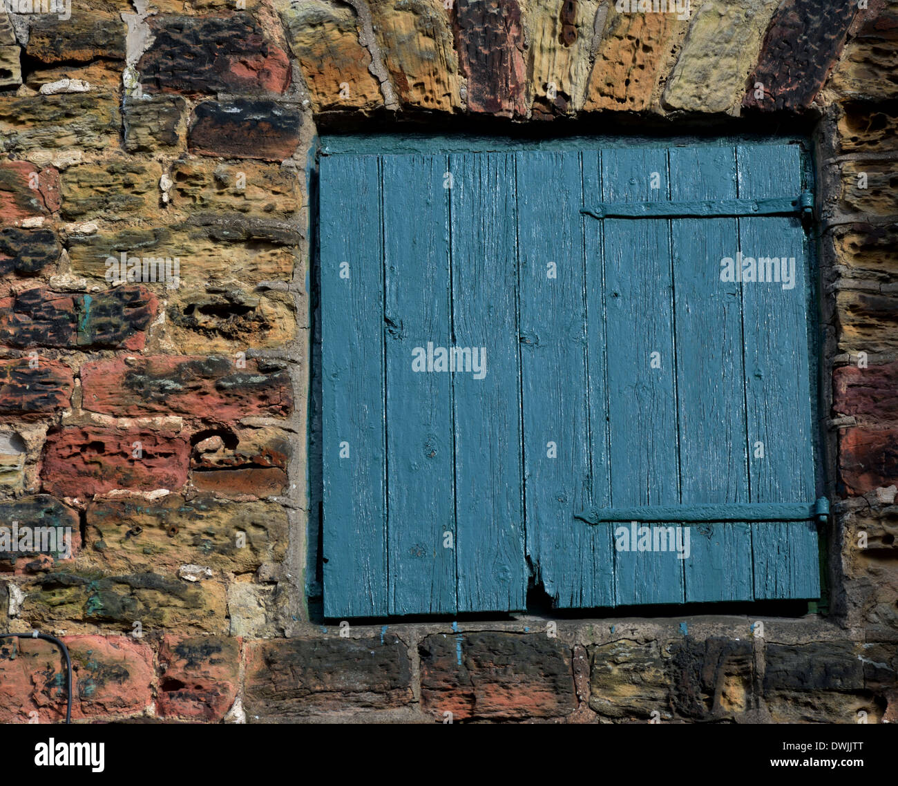 A Green wooden door - Stock Image