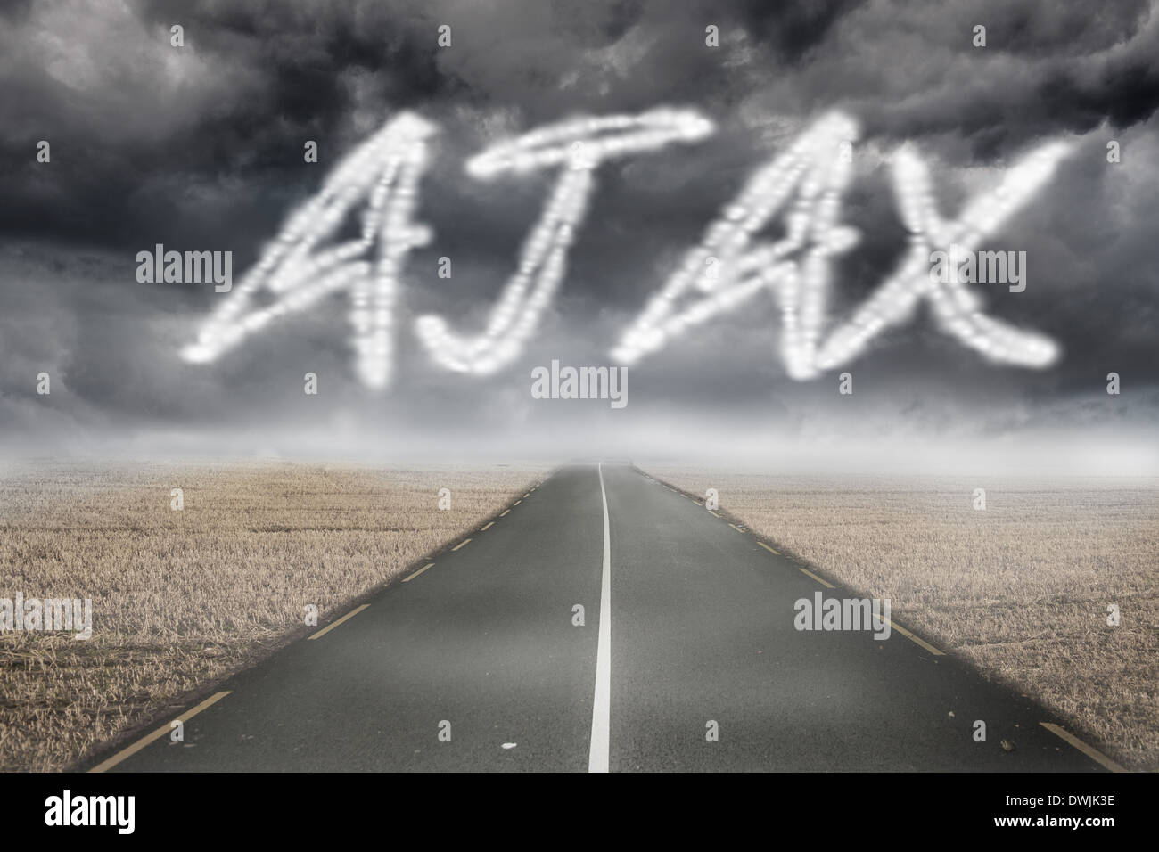 Ajax against misty brown landscape with street - Stock Image