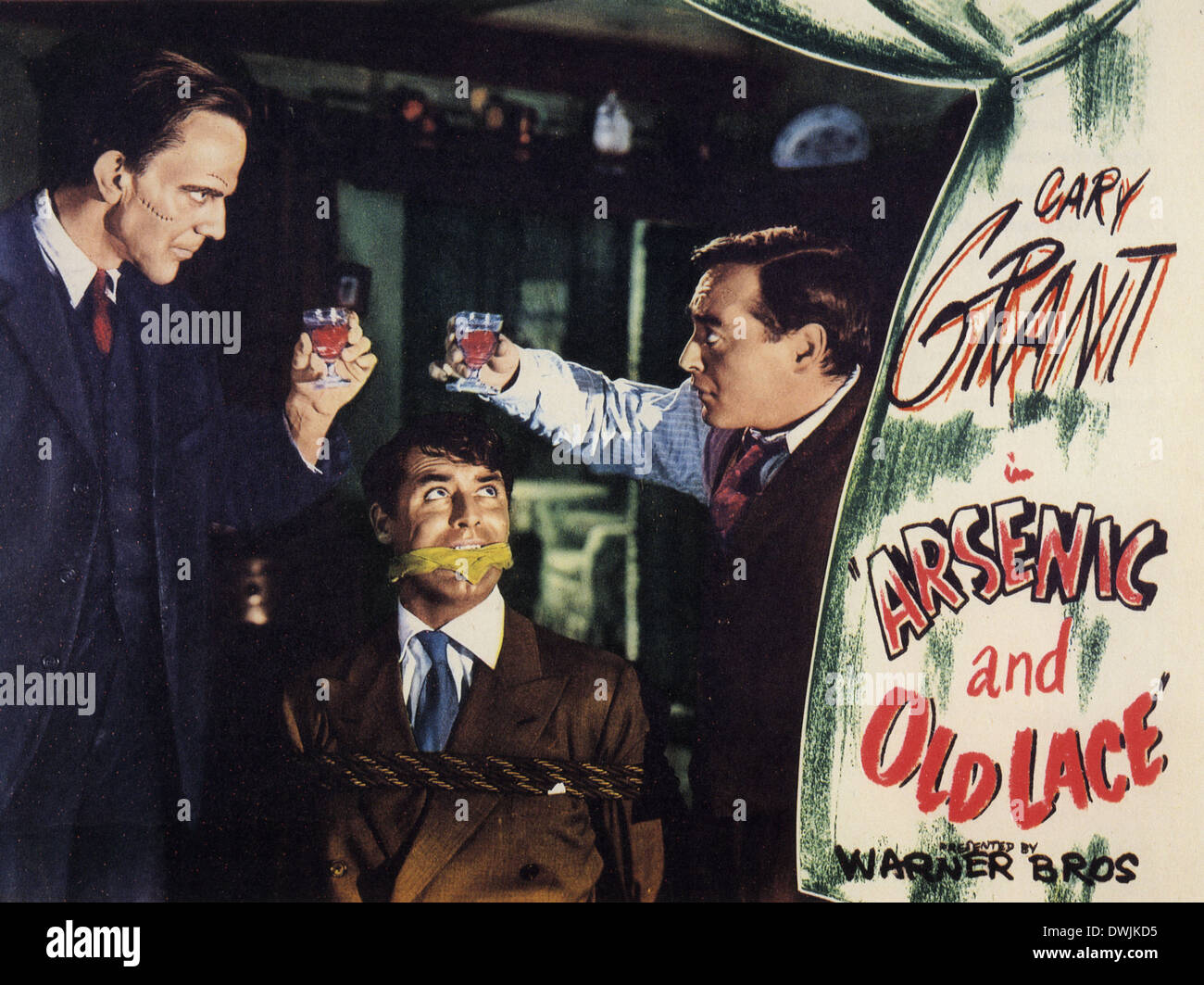 ARSENIC AND OLD LACE 1944 Warner Bros film From left: Edward Horton,Cary Grant , Peter Lorre - Stock Image