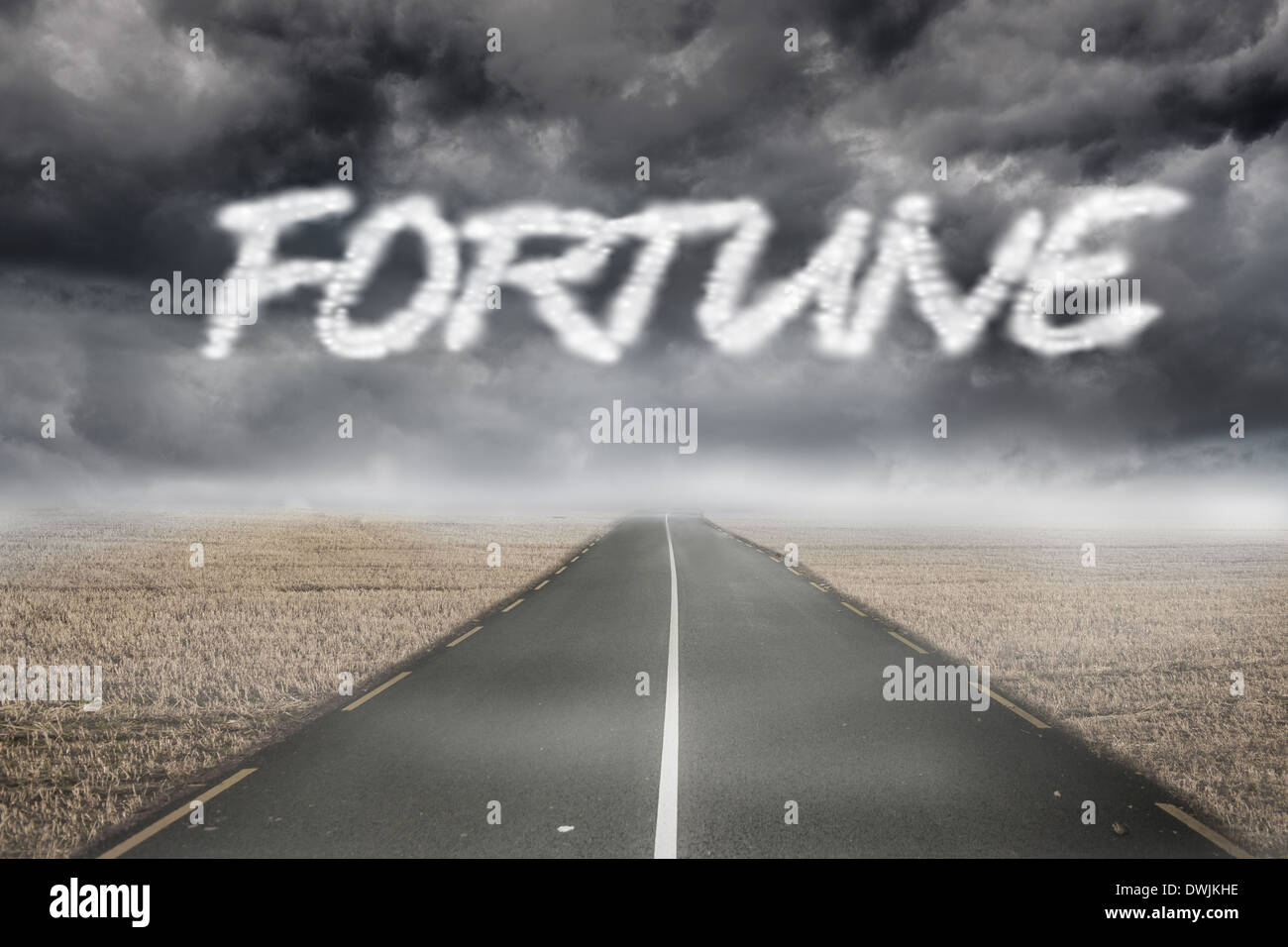Fortune against misty brown landscape with street - Stock Image