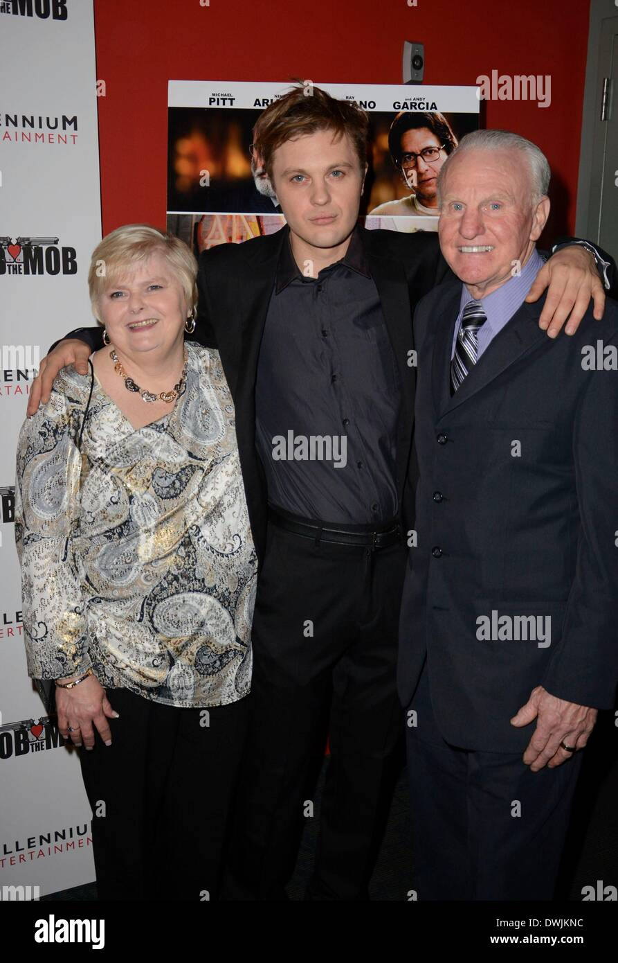 New York, NY, USA. 9th Mar, 2014. Michael Pitt with parents Jane Pitt and William Pitt at arrivals for ROB THE MOB Stock Photo