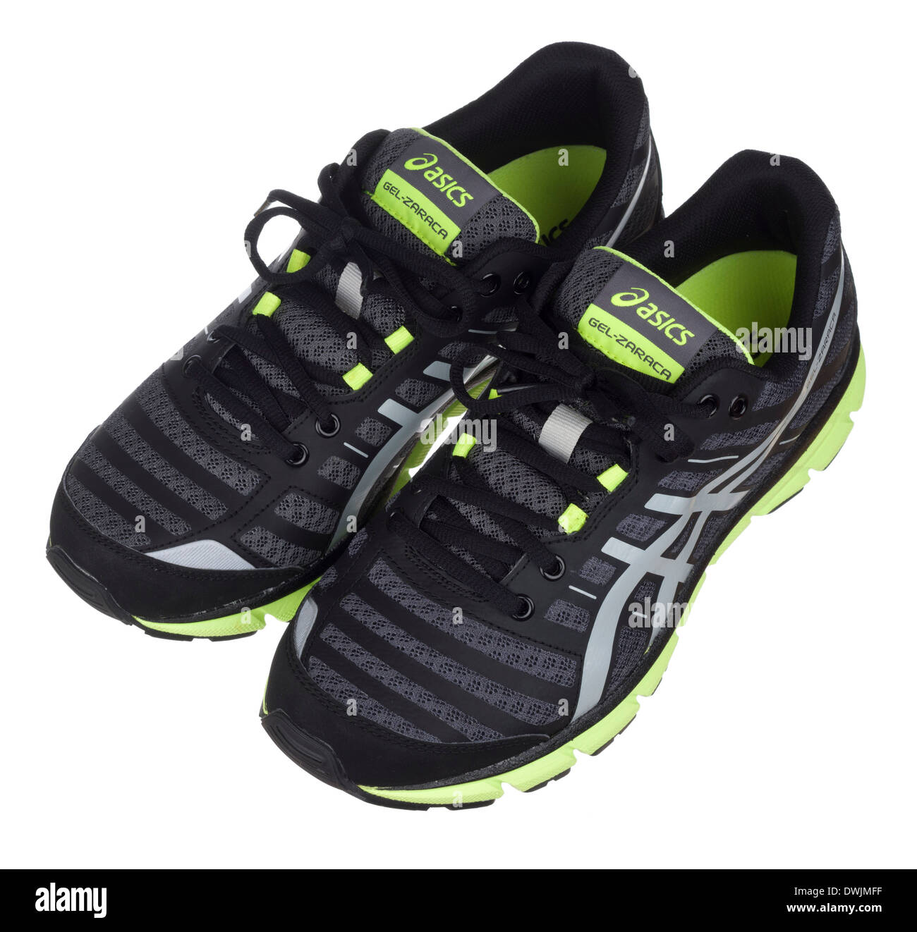 Black and neon green Asics Gel Zaraca 2 running shoes - Stock Image