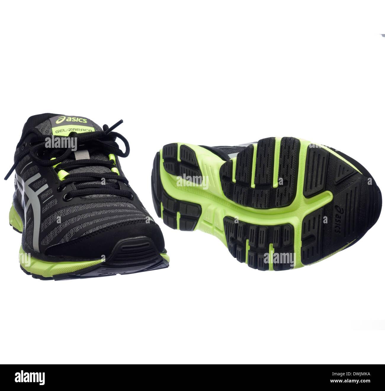 Black and neon green Asics Gel Zaraca 2 running shoes Stock Photo