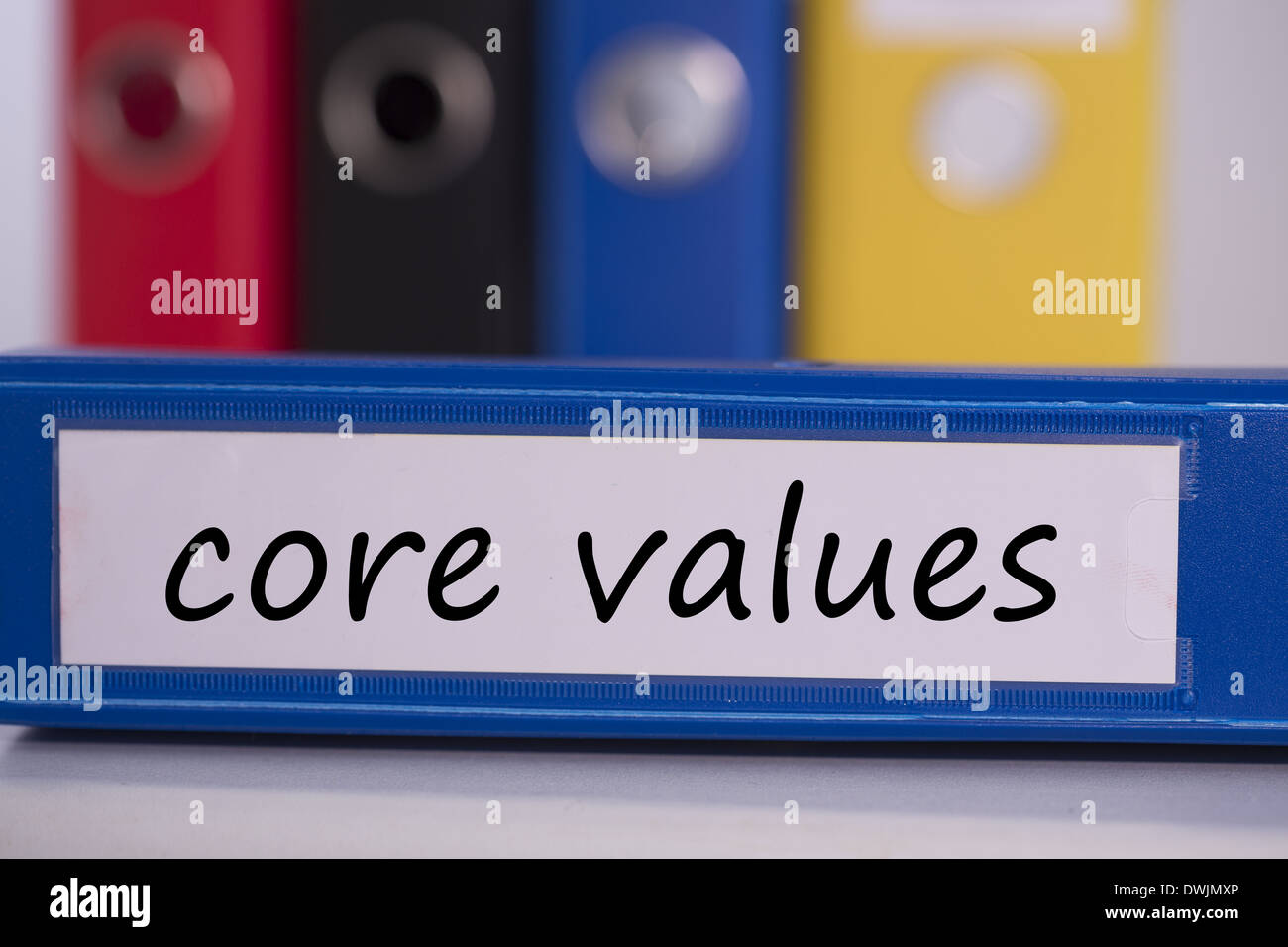 Core values on blue business binder - Stock Image