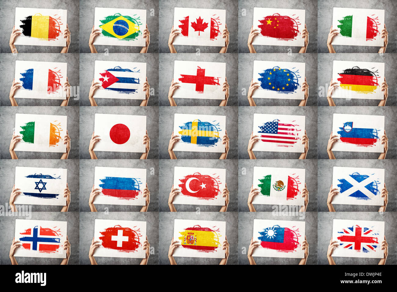 Various national flags collection. Man holding banner with grunge Flag. Supporting national team, patriotism concept. - Stock Image
