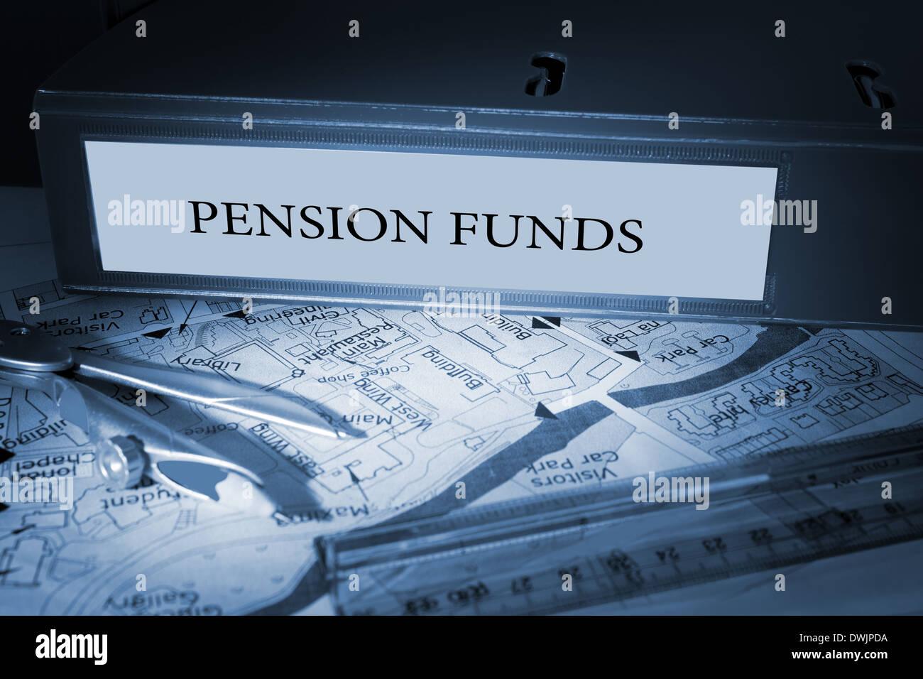 Pension funds on blue business binder - Stock Image