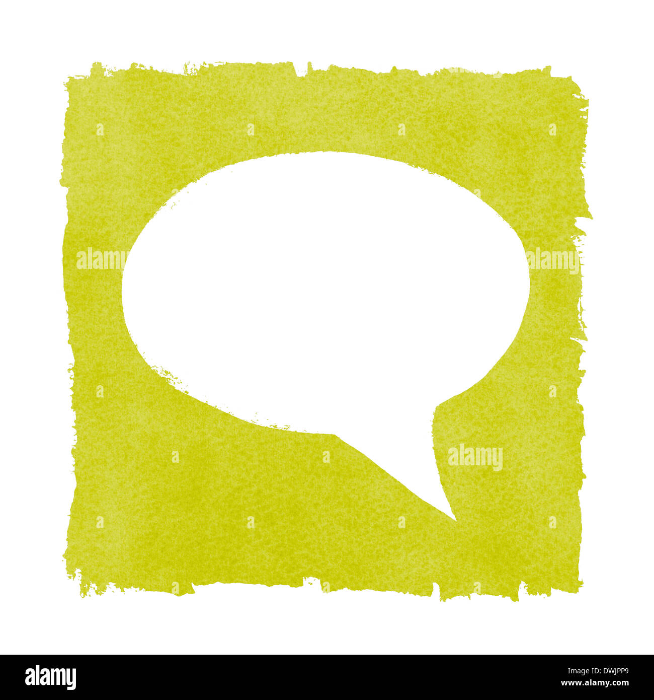 Social Media Speech Bubble Painted Green Box Frame - Stock Image