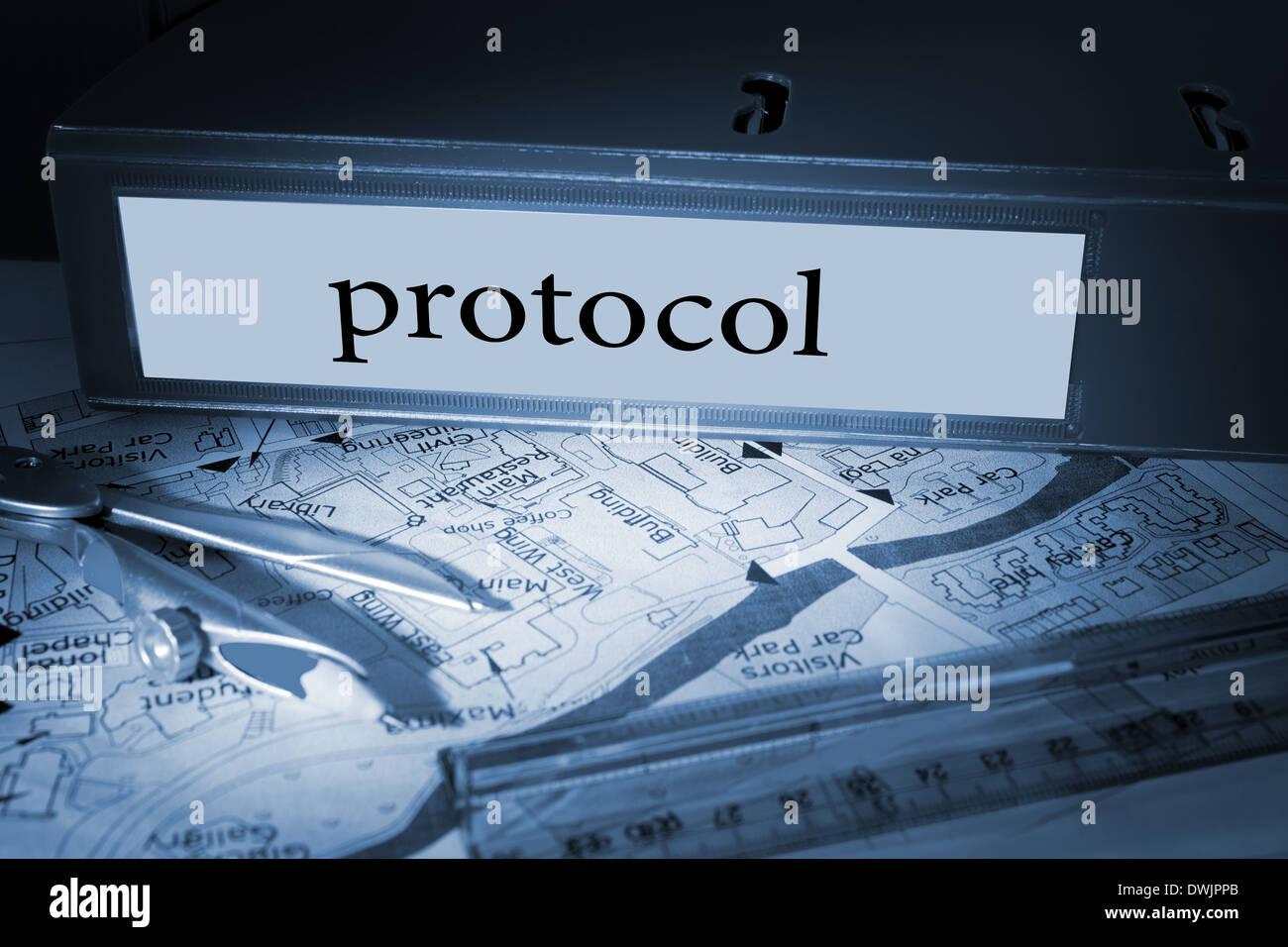 Protocol on blue business binder - Stock Image
